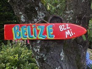 BELIZE - TROPICAL DESTINATION ARROW DIRECTIONAL POOL ISLAND POINTER SIGN