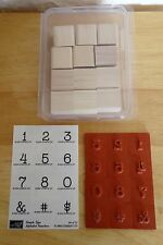 2004 NEW Stampin Up  SIMPLE Type Alphabet NUMBERS 12pc RUBBER INK STAMP SET