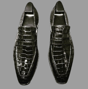 Elegdy Mens PU Leather Shoes Crocodile Skin Texture Upper Lace Up Breathable Business Shoes