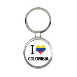 Gift Keychain : I Love Colombia Heart Flag Country Crest Colombian Expat