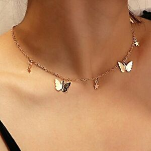 Butterfly Choker Chain Necklace For Women girls Star pendant Collar Chocker Gold