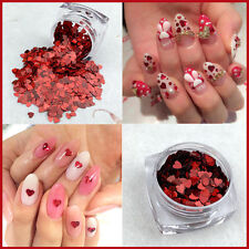 Valentines Nail Art Heart Shape Spangles Glitter Holographic Red Craft