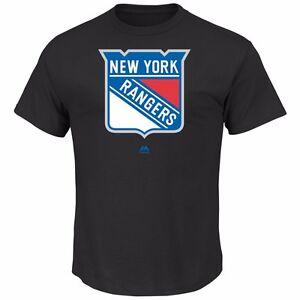 NHL Ice Hockey T-Shirt New York Ny Rangers Prepared Play Black Logo