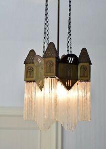 Glasstab Hängelampe seltene Türmchen Deckenlampe Lampe m Glasstäben Jugendstil