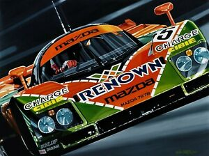 Mazda 787B Le Mans 90 x 70 cms limited edition  art print by Colin Carter