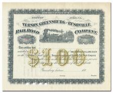 Vernon, Greensburg and Rushville Railroad Company Stock Certificate