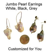 NEW Jumbo Chinese Freshwater Baroque Pearl Earrings-Grey Black White-Unique Fun!