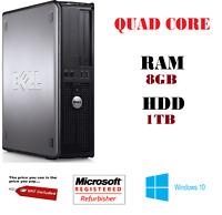 SUPER FAST DELL QUAD CORE PC DESKTOP TOWER WINDOWS 10 WI-FI 8GB RAM 1TB CHEAP