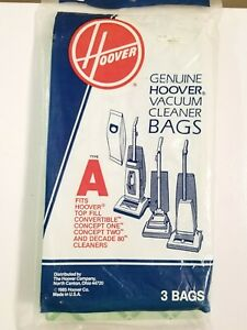 Genuine Hoover Type A Vacuum Bags Total of 3 Bags - New/Sealed