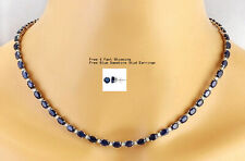 30cts Blue Sapphire & CZ Dia 14K Solid White Gold Plated Womens Silver Necklace