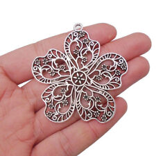 5 x Large Tibetan Silver Flower Charms Pendants for Necklace Jewellery Making