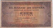 ESPAGNE : RARE 100 PESETAS 1938 - P.113