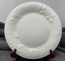 """Vtg! Gibson China~10 1/2"""" Dinner Plate~White Embossed Raised Fruit~1994~EUC~FrSh"""