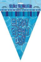 GLITZ BLUE FLAG BANNER HAPPY BIRTHDAY 3.6M/12' BIRTHDAY PARTY PLASTIC BANNER
