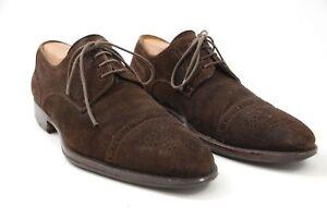 Magnanni Brown Suede Leather Medallion Cap Toe Derby Shoes Oxfords Men's 8.5M