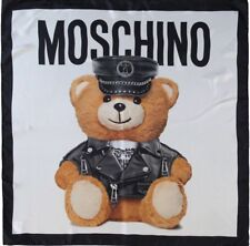 Moschino Scarf Teddy Bear Biker Print  Large 82cm x 82cm 100% Silk Square New