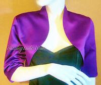 Purple Soft Satin Bolero/Shrug/Jacket/Stole/Wrap/Shawl/Tippet 3/4 Sleeve UK 4-26