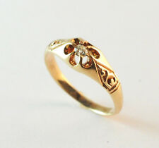 Victorian Diamond Promise Ring 14k Yellow Gold European Cut Size 5.5