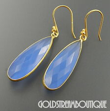 925 STERLING SILVER GOLD PLATED FACETED LAVENDER CHALCEDONY DROPLET EARRINGS