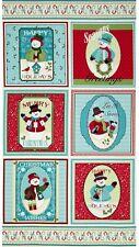 Happy Holidays Snowmen Christmas Craft  Panel - Advent- Benartex - Cotton Fabric