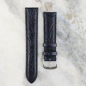 Genuine Calfskin Leather Watch Strap - Navy - 18mm/20mm