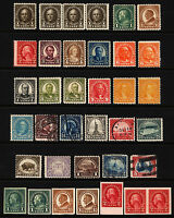 #551-#577 1/2c-$5.00 1922-25 M, MNH & Used, Shades, Imperfs, 33 items