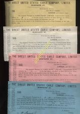1903-4 LONDON, THE DIRECT UNITED STATES CABLE CO. LTD. 4 x RECIEPTS FOR SHARES