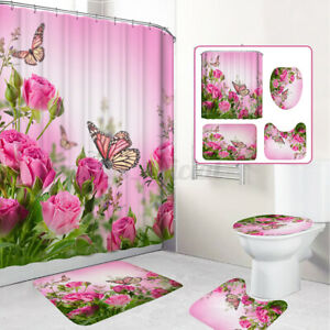 Butterfly Rose Print Bathroom Toilet Rug Lid Toilet Cover Mat Shower Curtain Set