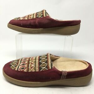 Biotime Womens 7M Joy Aztec Slip On Mules Casual Comfort Slippers Red Suede Knit
