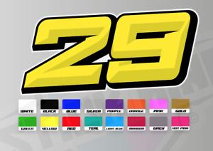 3 X Custom Racing Numbers - Vinyl Stickers / Decals - Race Motorbike 3D Style