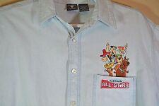 Vtg Hanna Barbera Cartoon All Stars Denim Long Sleeves Men's Shirt L Scooby Do