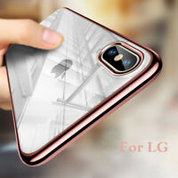 For LG G8 ThinQ G7 V40 V30 G6 Shockproof Plating Rubber Bumper Clear Case Cover