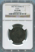 1802 No Stems Draped Bust Large Cent, S-231. NGC VF25 BN