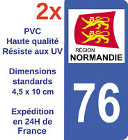 2 Stickers autocollant immatriculation département 76 Seine-Maritime Normandie