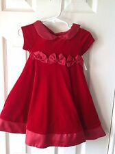 Girls holiday dress red velveteen size 12 Months