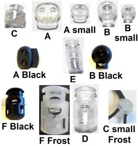 🇬🇧 2x Cord Lock Toggle Stopper Clamp Drawstring Buckle Spring Catch Clear UK