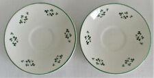 Carrigaline Pottery Shamrock Saucers Green Trim Cork Ireland 2 Pieces