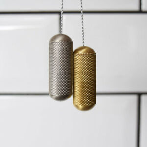 Brushed Brass Gold & Silver Knurled Cylindrical Bathroom Light Pulls