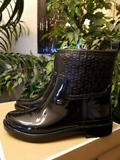 Michael Kors Blakely Women Logo Embossed Ankle Rain Boots Sz 6 Black THESPOT917