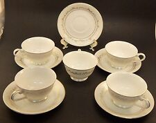 """Set of 5 Cups and Saucers / """"Golden Thistle"""" by Summit / Japan / Discontinued"""