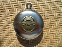 Vintage Metal Round Case with Embossed Lantern Lid