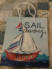 2 Sail Away Gift Bags with sailboat design 6 1/2 by 7 3/8 inches