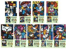 ROMERO BRITTO COLLECTION OF 9 PREPAID PHONE CARDS (SAMPLES) ** RARE ** MINT