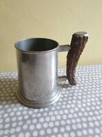 Vintage Viners Of Sheffield English Pewter Tankard With Staghorn Handle