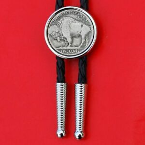 US 1913~1938 Indian Head Buffalo Nickel 5 Cent Coin Silver Plated Bolo Tie NEW
