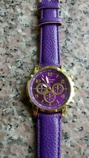 NEW LADIES ANALOG WATCH WITH PURPLE FAUX LEATHER STRAP .FREE P&P