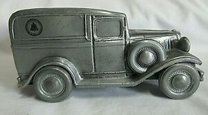 VTG  Banthrico 1974 Silver Die-Cast Coin Bank - 1934 Ford - AT&T Bell Systems