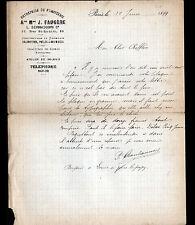 """PARIS (IX°) Ets de FUMISTERIE / POELE CHEMINEE """"J. FAUGERE / L. BERNASCONI"""" 1899"""