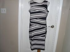 New Chico's Textured Stripe Short Dress Blue/White 2=12/14 or L NWT $149