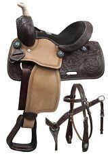 """10"""" Double T Western Pony Saddle Set with Blue Crystal Rhinestones!"""
